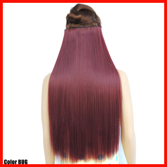 Japanese Hair Extensions Piece Red Wine Synthetic Fiber Haar
