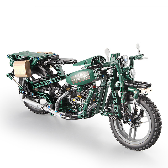 Large Technic US Army Motorcycle 1