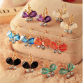 New Fashion Korea Style Wings Rhinestones Purple Bow Butterfly Stud Earrings for Women  CED18