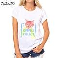 PyHen Горячие Продаж 2016 Новая мода Feline Феминистской Зануда дизайн женщины футболки леди лето топы повседневная футболка femme