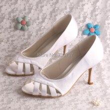 Wedopus Высокое Качество Свадебные Туфли для Женщин White Satin Med Каблуки Открытым Носком Dropship