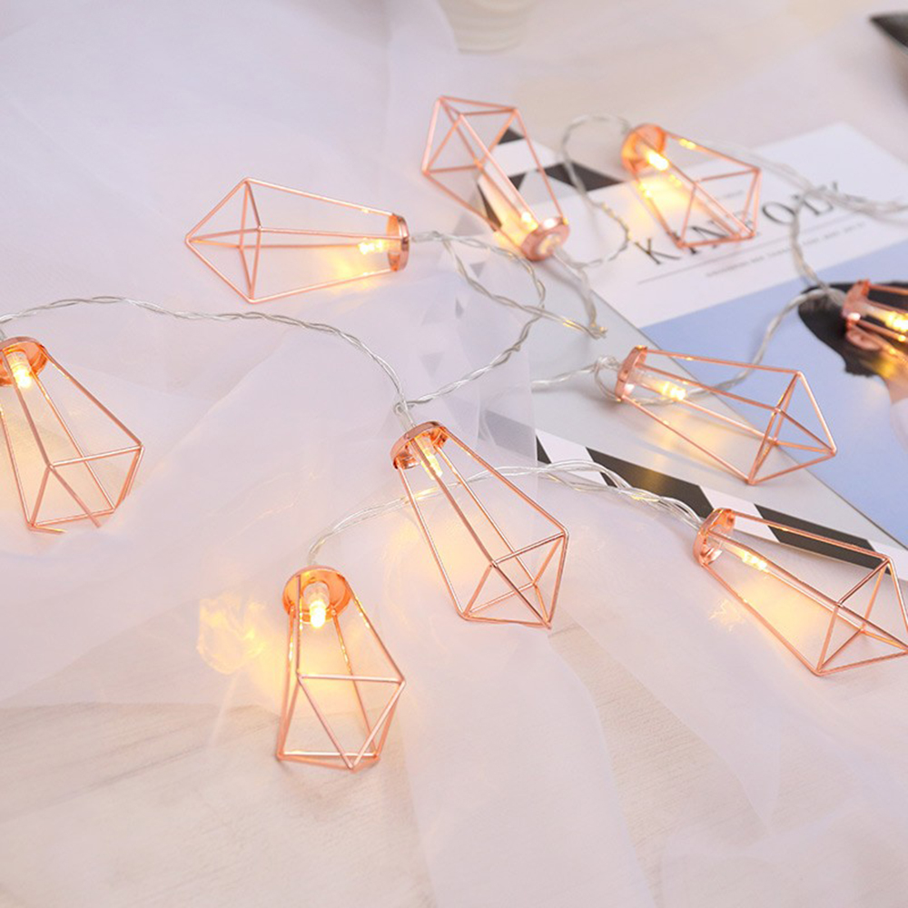 10/20 LEDS Retro Iron Metal Diamond Fairy String Lights Battery Xmas Holiday Wedding Party Home Decoration Lantern String Lamps