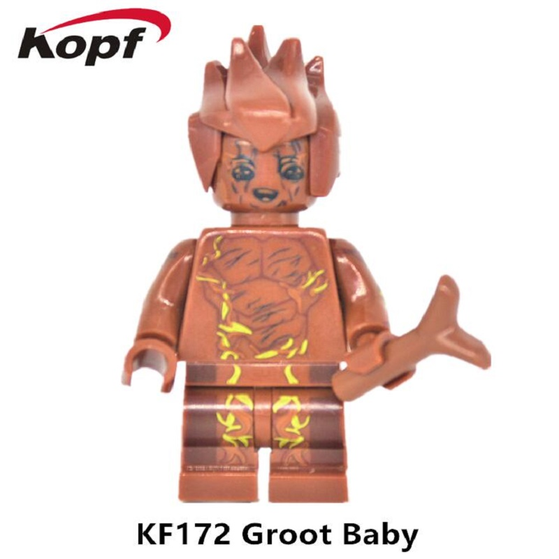 Single Sale Super Heroes Star Wars Guardians of The Galaxy Groot Tree Man Bricks Action Building Blocks Toys for children KF172 guardians of the galaxy groot tree man rocket racoon star lord peter quill drax the destroyer building blocks kids toys pg8044