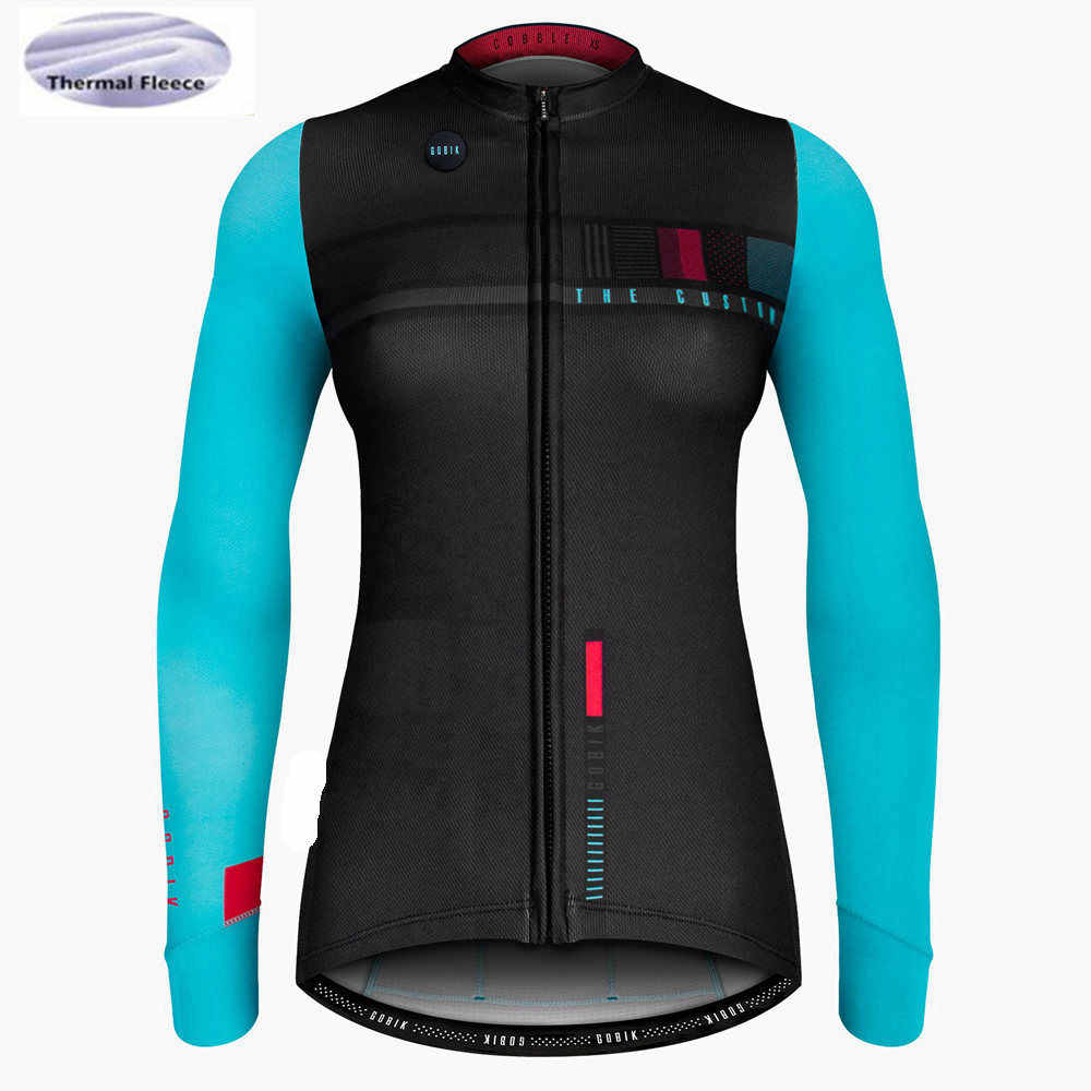 80c858445 Women Winter Thermal Fleece Cycling Jerseys Long Sleeve Breathable Quick  Dry Outdoor Mountain Road Bicycle Triathlon