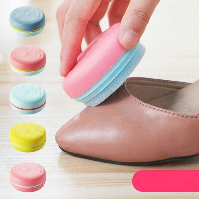 Doble cara Esponja Bootpolish Zapatos Limpios Macarrón Multicolor Zapatos Cepill