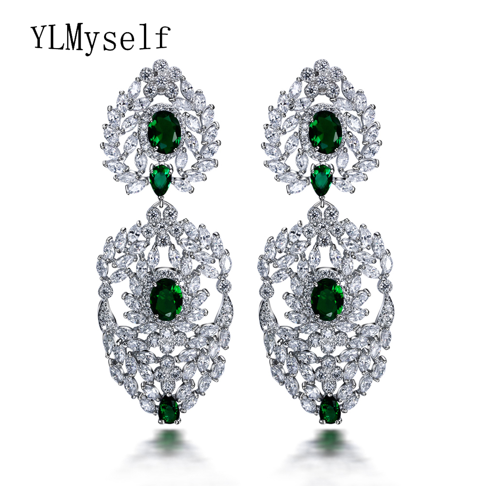 2018 new looking Ethnic Luxury Jewelry big earrings for party High quality Rhinestone Green Champagne colorful Long earring green j looking for alaska