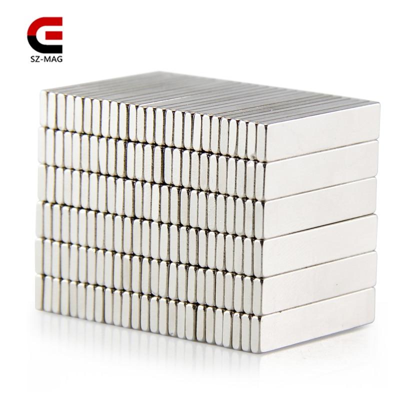 купить 100pcs 50pcs 25pcs 25x5x1.5mm Permanet Customizable magnet Strong Rare Earth Bar Neodymium Magnets N50 slices по цене 441.98 рублей