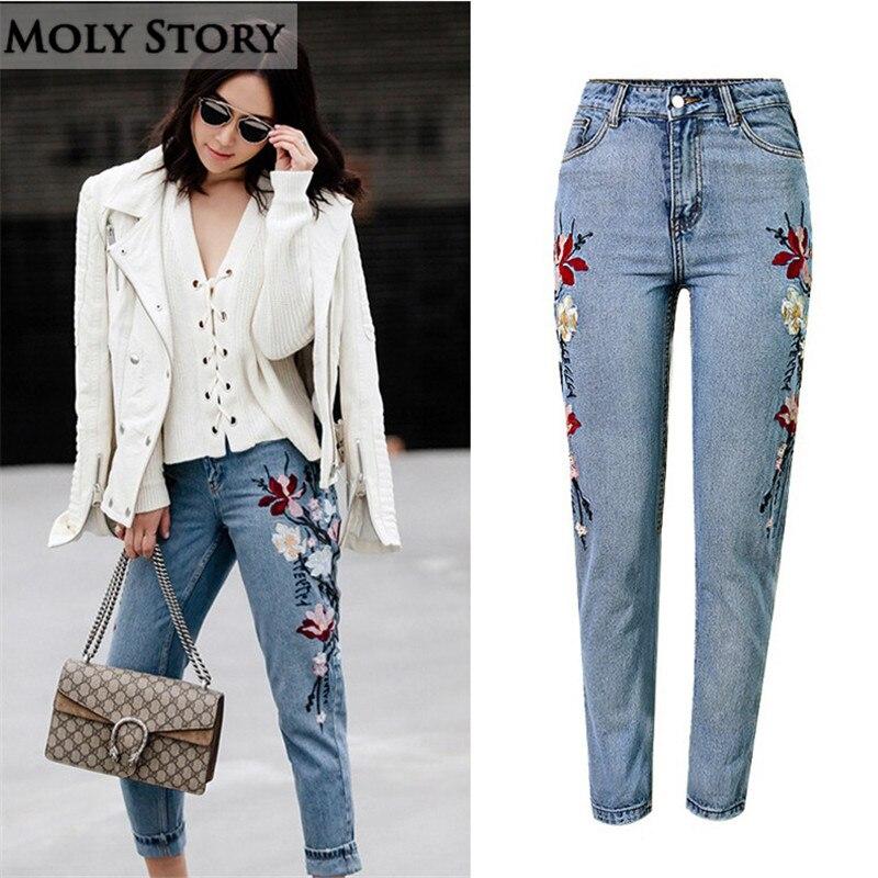 Nové 3D květinové vyšívané džíny ženy s vysokým pasem příležitostné volné dámské džíny plus velikosti džínové kalhoty