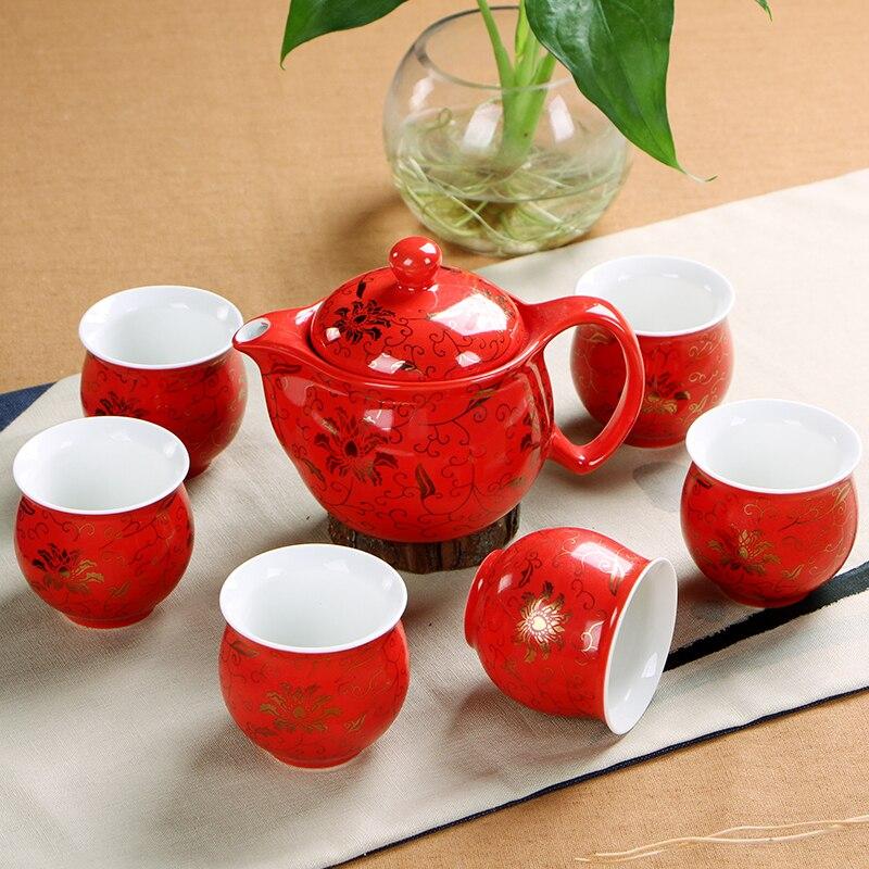 Chinois De Mariage Décoration Thé Définit Isolation 6 pcs tasse de thé 1 pcs théière. Kung Fu Teaware Ensembles En Gros Le Plus de Ventes-in Services à thé from Maison & Animalerie    3