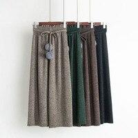 2017 Autumn Winter New Korean Version Woolen Pleated Wide Leg Pants High Waist Belt Hair Ball