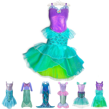 Girls Princess Ariel Dress Cosplay Little Mermaid Costume Child Halloween Birthday Party Clothes Kids Mermaid Girl Dress Fancy