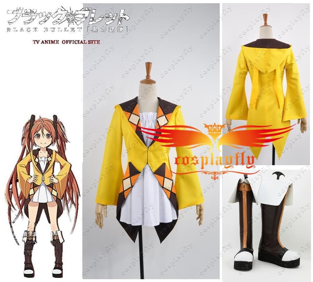 Anime Black Bullet Enju Aihara Dress Cosplay Costume Boots Shoes Full Set Any Size Sexy Top Jacket Female Uniform