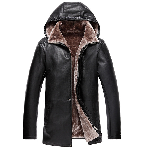 Vintage Brown Leather Jacket Mens Hooded Fur Lining Luxury Fur Clothing Leather Men's Business Jacket Winter Long Overcoat