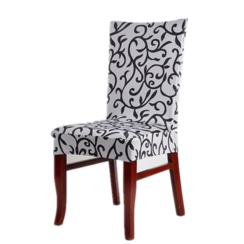Grey And Black Sure Fit Soft Stretch Spandex Pattern Chair Covers For Kitchen Short Dining Cover V43