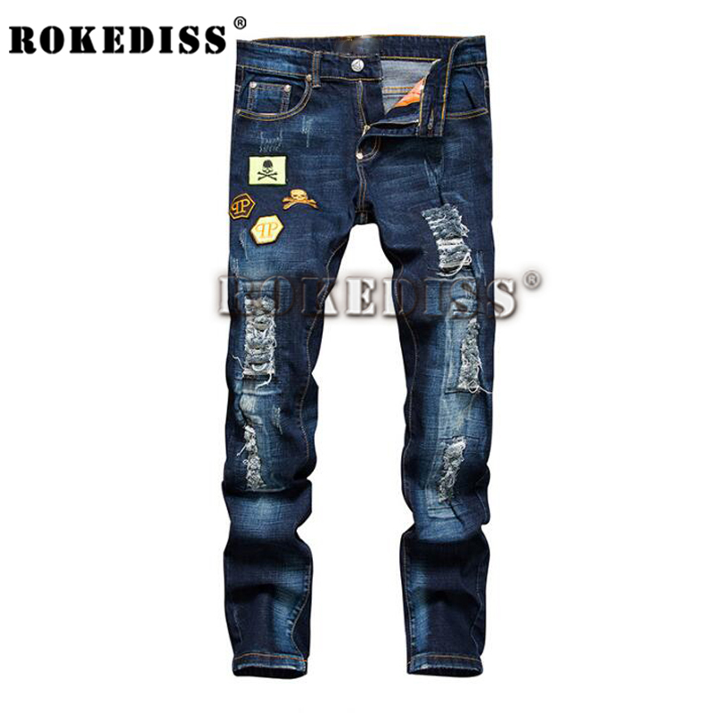 ФОТО Motorcycle Ripped jeans for men Straight Slim blue Stylish Washed men's trousers vaqueros hombre pantalon homme B87