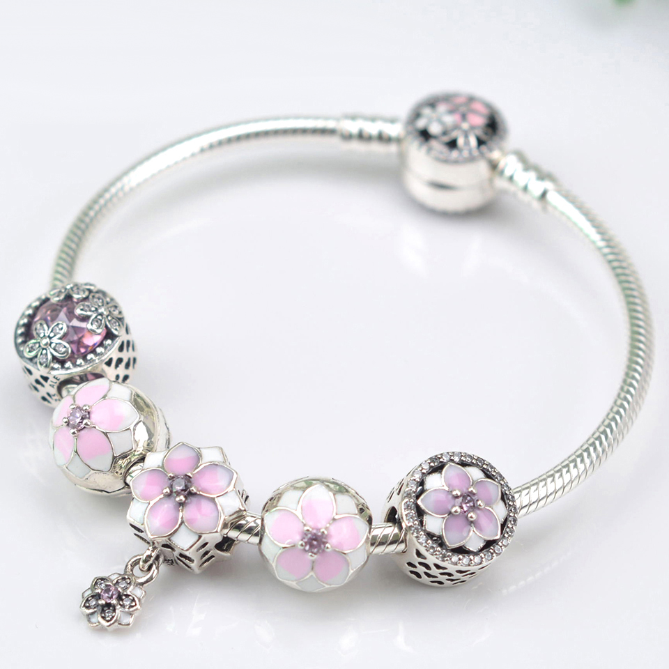 NEW NEW 100% 925 Sterling Silver Bracelet Set For Europe Women Spring Pink Flowers DIY Gift Original Bangle Charm JewelryNEW NEW 100% 925 Sterling Silver Bracelet Set For Europe Women Spring Pink Flowers DIY Gift Original Bangle Charm Jewelry