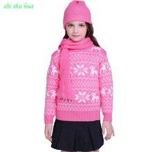 Одежда для мальчиков и девочек вязаный свитер с цветком на крючках теплая плотная одежда высокого качества с высоким воротником и длинными рукавами для детей от 3 до 14 лет Лидер продаж года