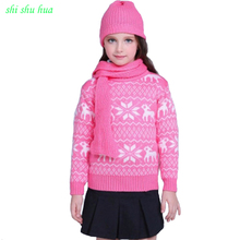 Boy Girls Clothes Knit Hook Flower Sweater High Collar Long Sleeve Warm Thick Baby 3-14 Y Child Quality Clothing 2019 Hot Sale