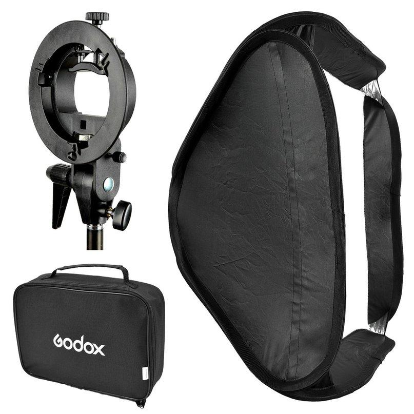 Godox S Type Speedlite Bracket Bowens Mount Holder + 50 x 50cm Softbox for Studio Photography Flash Diffuser