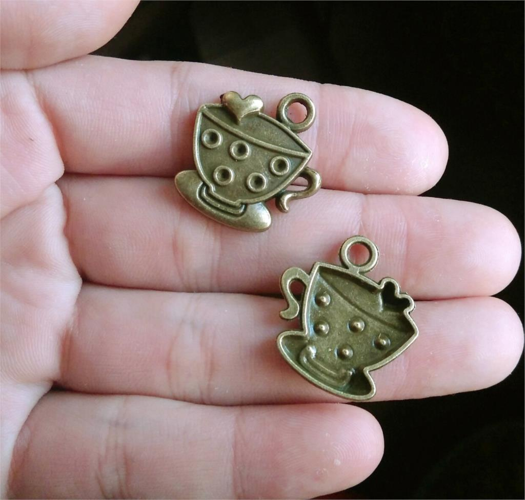 Free shipping 4Pcs Bronze Love coffee cup 23*23mm DIY Retro Jewelry Bracelet Necklace pendant Free Shipping