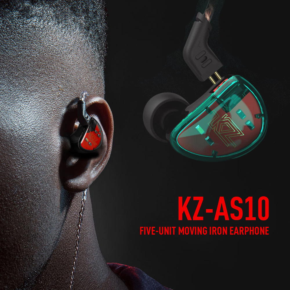 Haute résolution haute résolution KZ AS10 casque 5 Armature équilibrée pilote dans l'oreille écouteur HIFI moniteur de basse écouteurs écouteurs