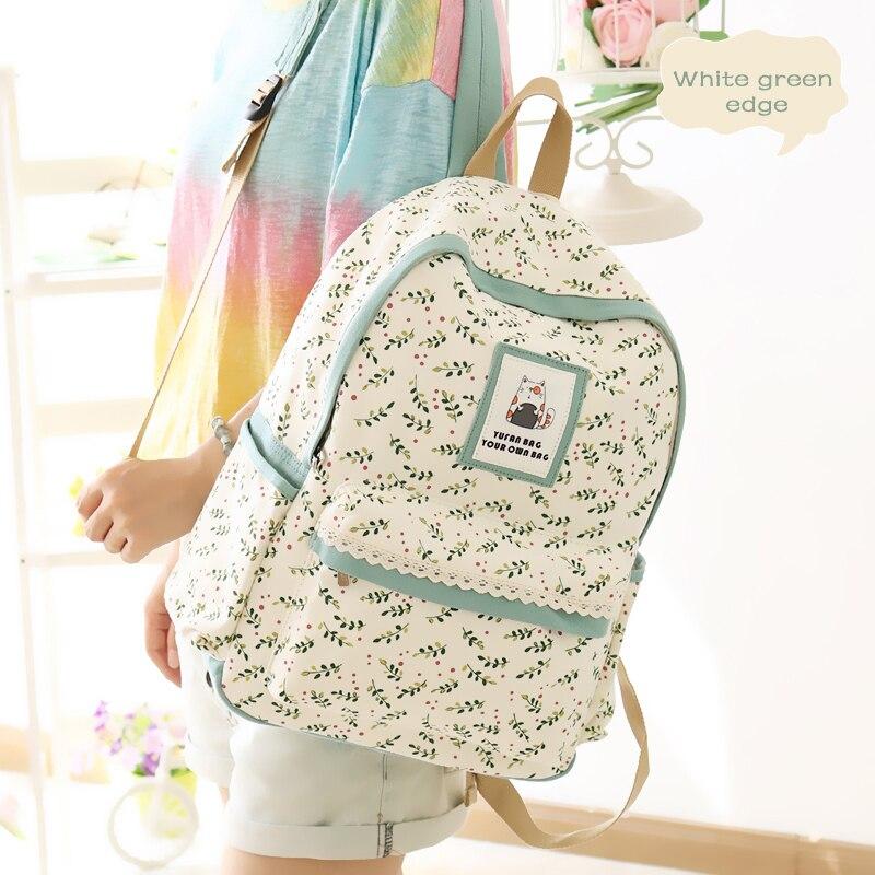 2017 YuFan Women Backpack Soft Canvas Leaves Pattern Backpack Women Fresh Cute Soft Polyester Zipper Backpacks