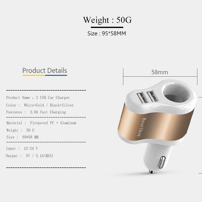 Brorikoy Cargador de coche para iPhone 6 iPad 2 puertos USB Cargador - Accesorios y repuestos para celulares - foto 6