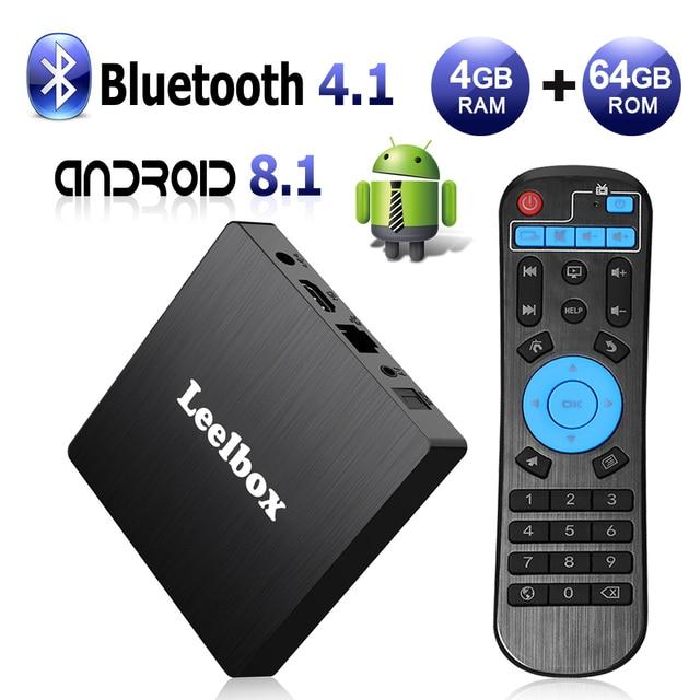 Leelbox Q4 Max Android 8,1 TV Box 4 GB RAM 64 GB ROM RK3328 Quad Core construido en BT 4,1 apoyo 4 K HD 3D H.265 WiFi 2,4g caja
