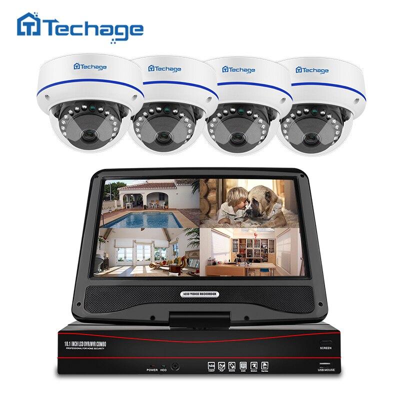 """Techage 8CH 1080 P POE system CCTV 10.1 """"LCD zestaw monitoringu NVR 2MP kryty odkryty kopuła odporność na akty wandalizmu kamera IP P2P nadzoru wideo zestaw w Systemy nadzoru od Bezpieczeństwo i ochrona na  Grupa 1"""