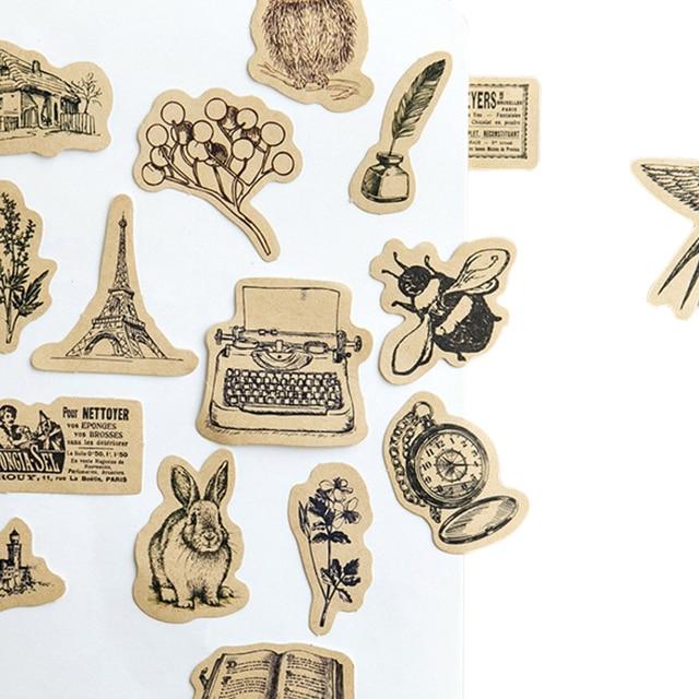 46pcs/box Kawaii Vintage Small animals Diary  Handmade Paper Label Sealing  Scrapbooking Decorative DIY Stickers Stationery