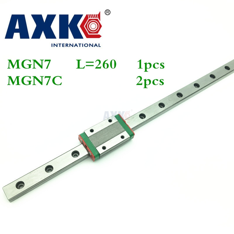 2017 Real Axk Linear Rail Cnc Router Parts 1pc 7mm Width Linear Guide Rail 260mm Mgn7 + 2pc Mgn Mgn7c Blocks Carriage For Cnc 3d print parts cnc mgn7c mgn12c mgn15c mgn9c mini linear rail guide 1pc mgn linear rail guide 1pc mgn slider
