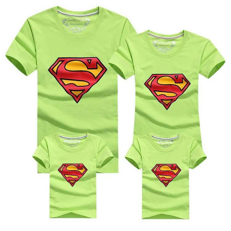 2019 ใหม่ Family Look Superman T เสื้อ 9 สีฤดูร้อนสำหรับครอบครัว Mom & Dad & Son & ลูกสาวการ์ตูนชุด HC315