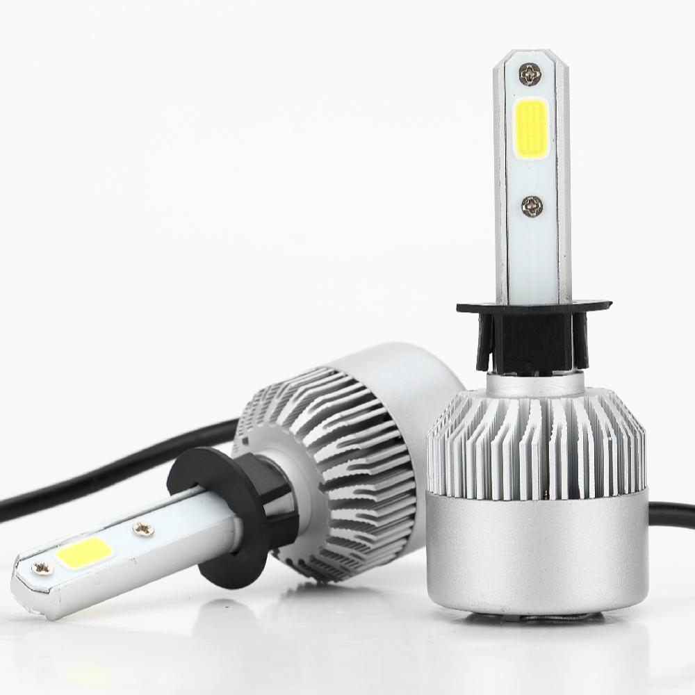 2 X H1 Car Headlight Bulb LED 36W 3600LM 9V-36V Waterproof IP68 6500K Cold White 200M Light Range 360 Degree Beam S2 ALL IN ONE