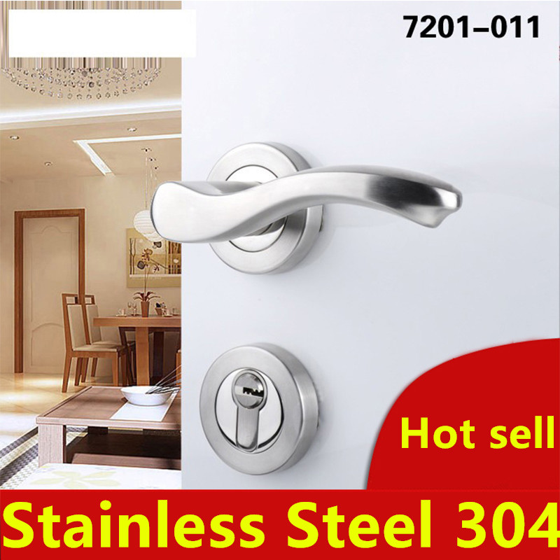 7201-011 Stainless Steel 304 Modern style Door lock bedroom room bathroom lock with handle lock europe standard 304 stainless steel interior door lock small 50size bedroom big 50size anti shelf strength handle lock
