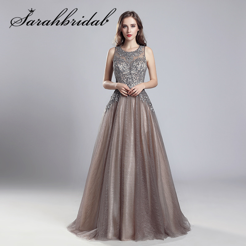 Elegant   Evening     Dresses   Long Mocha Tulle Floor Length Vestidos De Festa Longo O-Neck Handmade Embroidery Prom Party Gowns CC560