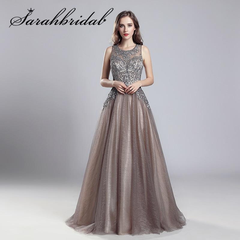 Elegant   Evening     Dresses   Long Mocha Tulle Floor Length Vestidos De Festa Longo O-Neck Handmade Embroidery Prom Party Gowns CC560