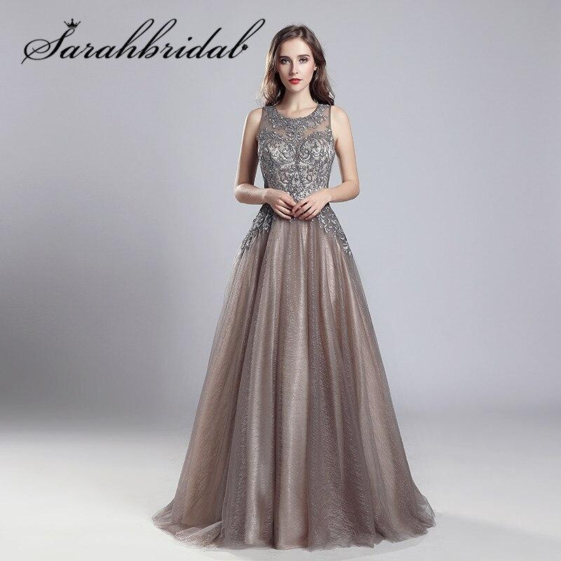 Elegante vestidos de noite longo mocha tule até o chão vestidos de festa longo o pescoço bordado feito à mão vestidos de festa de formatura cc560
