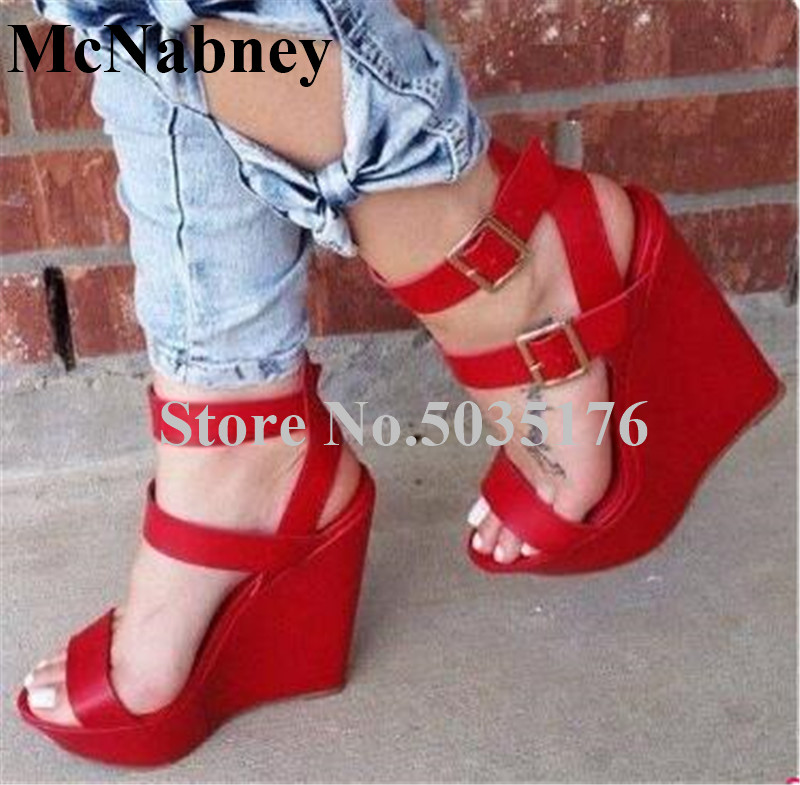 2019 European Solid Peep Toe High Platform Sandals Ankle Strap Buckle Front And Rear Strap High Wedges Heel Sandals Women Shoes2019 European Solid Peep Toe High Platform Sandals Ankle Strap Buckle Front And Rear Strap High Wedges Heel Sandals Women Shoes