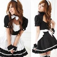 Sıcak Satış!! Japon Tarzı Seksi Kadın Elbise Siyah/Beyaz Kontrast Renk Kadınlar için Cosplay Kostüm Lolita Hizmetçi Elbise Vestidos Mujer