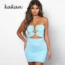 Kakan summer new hot womens dress sexy openwork sleeveless backless tube top bag hip fold