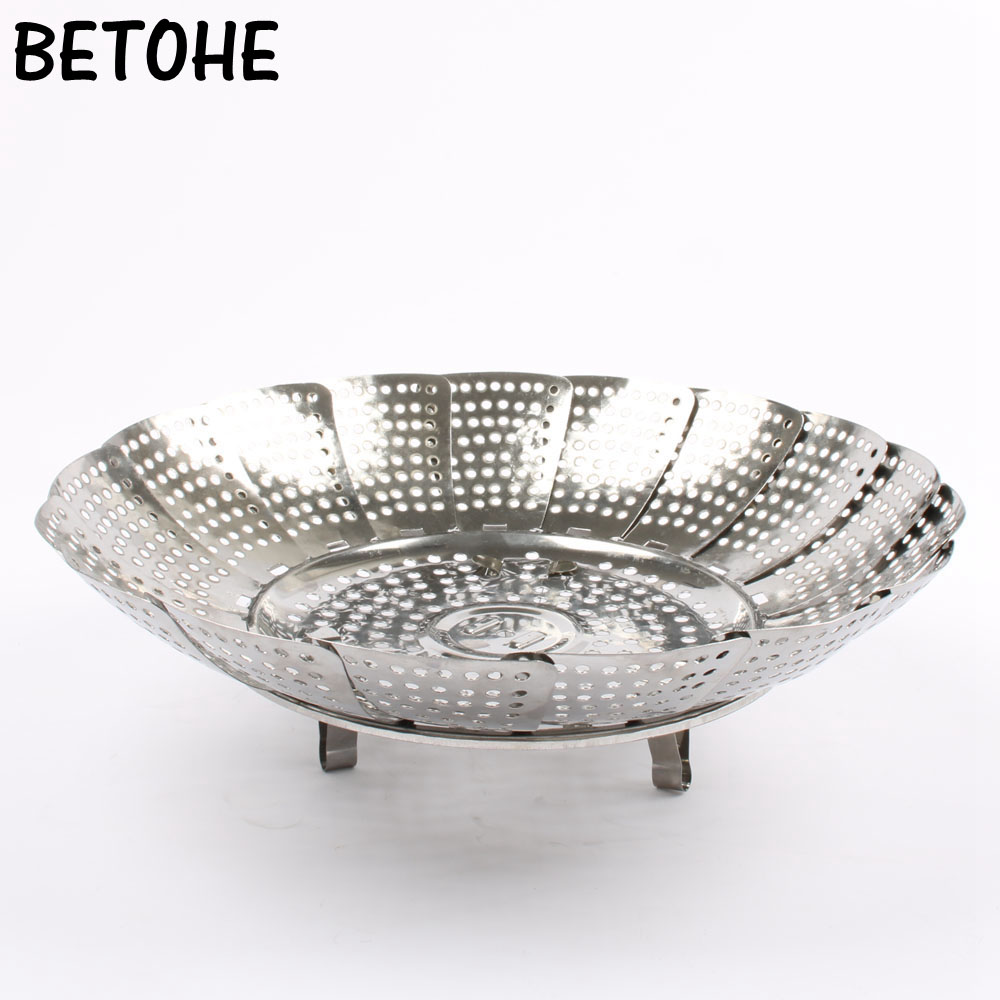 BETOHE Multifunctional Retractable Steamer Rack Drip Tray Drain Basket Fruit Rack Plate Steamer 24cm 26cm Stainless Steel