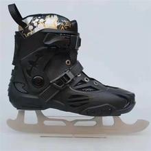 Inline Slalom Ice Skates Sepatu dengan 3 Mm Es Pisau 53-55 Kekerasan 5Cr15  FSK Ski Menari Hitam BOOT EUR 35-44 Anak-anak Orang D.. 9c1ffe651a