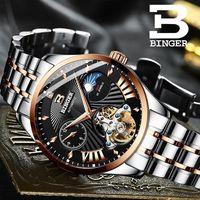 스위스 시계 남자 binger 자동 기계 남자 시계 럭셔리 브랜드 사파이어 gmt 남자 손목 시계 방수 B-1186-15