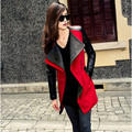 2016 New Fashion Hot Women Trench New Leather Sleeve Zipper Pocket Slim Temperament Women Outwear Lady Top D193