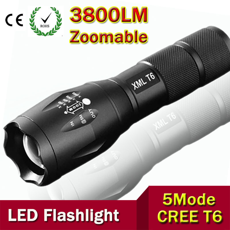 Ultra Bright CREE XML-T6 3800Lumens cree led Torch Zoomable LED Flashlight For 3xAAA or 1x18650 Free shipping ac eu waterproof cree xml t6 zoomable flashlight 3800 lumen super bright adjustable focus torch lamp for 3xaaa or 1x18650battery