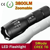 Ultra Bright CREE XML T6 3800Lumens Cree Led Torch Zoomable LED Flashlight For 3xAAA Or