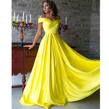 Yellow Satin Long Off The Shoulder Dubai Arabic Saudi Arabian Women Evening Dresses Party Custom Made Colors