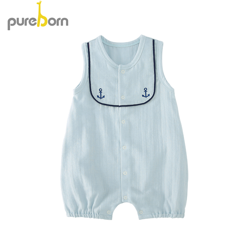Pureborn Baby Sleeveless Romper Cotton Summer Baby Clothes Infant Baby Boy And Girl Clothes Navy Collar Clothes