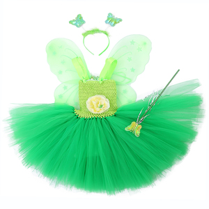 Image 1 - Green Santa Flower Fairy Princess Party Dresses for Little Girls Role Play Tutu Dress with Fairy Magic Wand Wing Headwear 1 12Y
