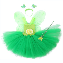 Green Santa Flower Fairy Princess Party Dresses for Little Girls Tinkerbell Tutu Dress with Magic Wand Wing Headwear 1-12Y